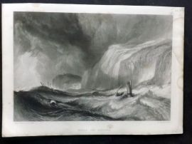 After J. M. W. Turner C1860 Art Journal Print. Wreck off Hastings